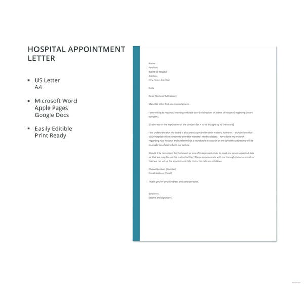 hospital appointment letter template1