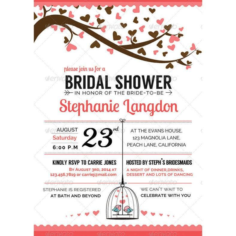 illustrated bridal shower invitation 788x787