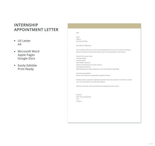 internship appointment letter template