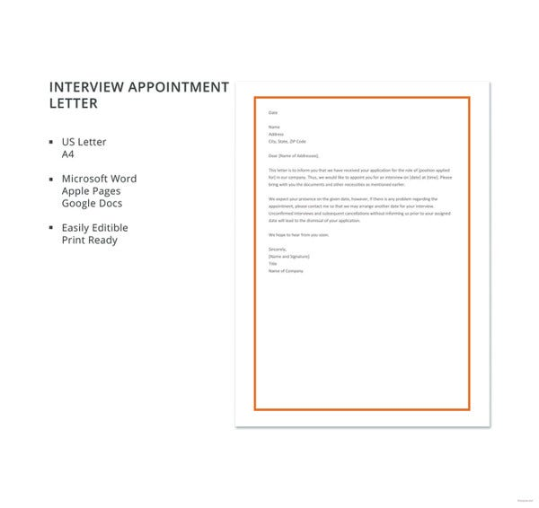 interview appointment letter template2