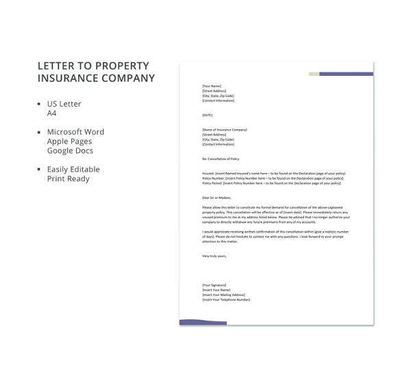 letter to property insurance company