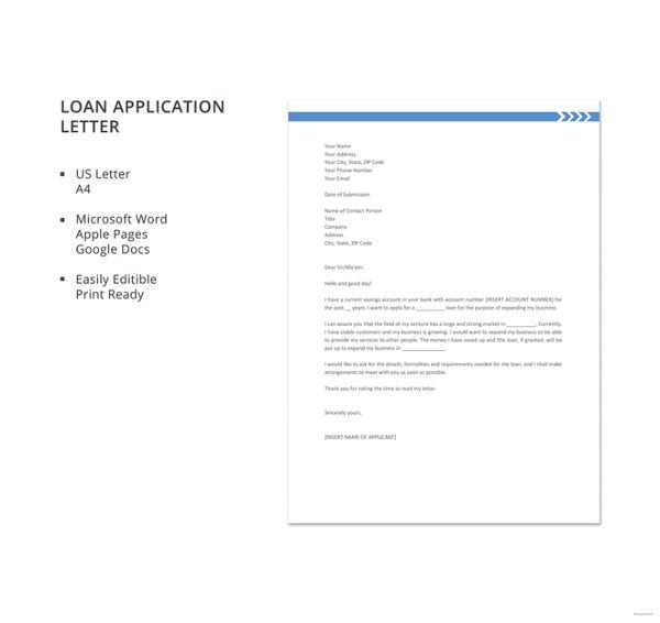 loan letter format loan application letter templates 8 free word documents 23458