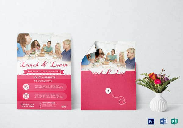 lunch and learn invitation template in psd