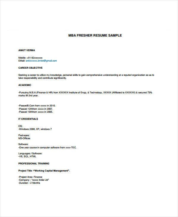 marketing fresher resume template 4 free word pdf format
