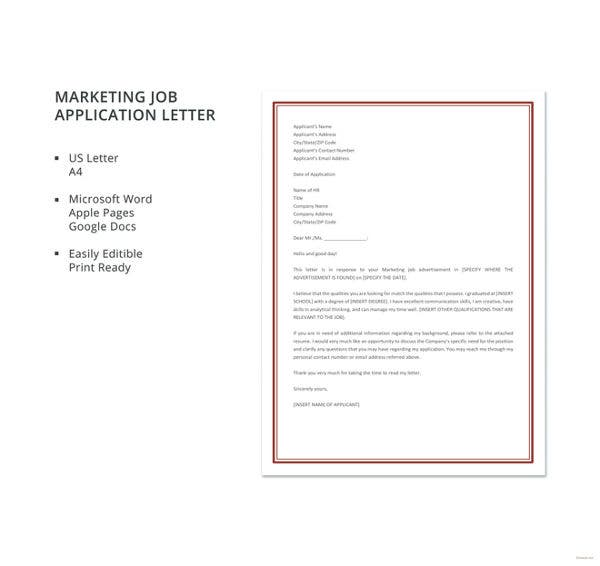 9 marketing job application letter templates free word pdf marketing job application letter template thecheapjerseys Images