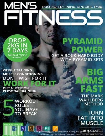 mens fitness magazine cover template