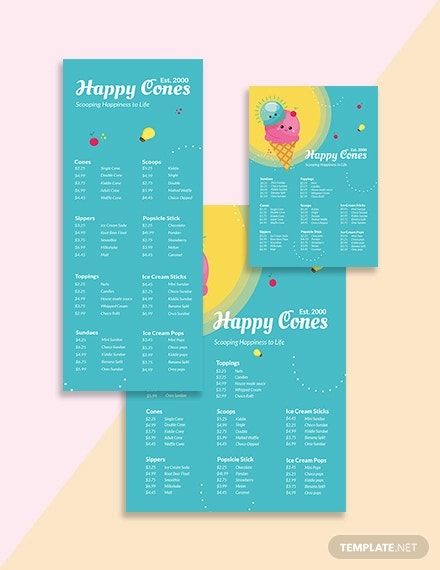 modern ice cream menu template