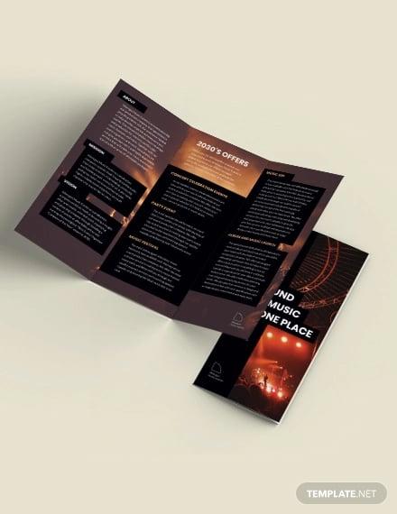 music event tri fold brochure template