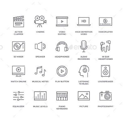 music and video line icons