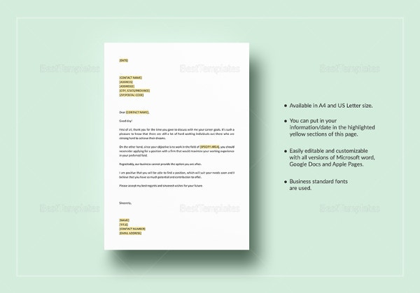 negative response letter Negative response to job candidate postinterview template – download now simply fill-in the blanks and print in minutes instant access to 1,800+ business and legal forms.