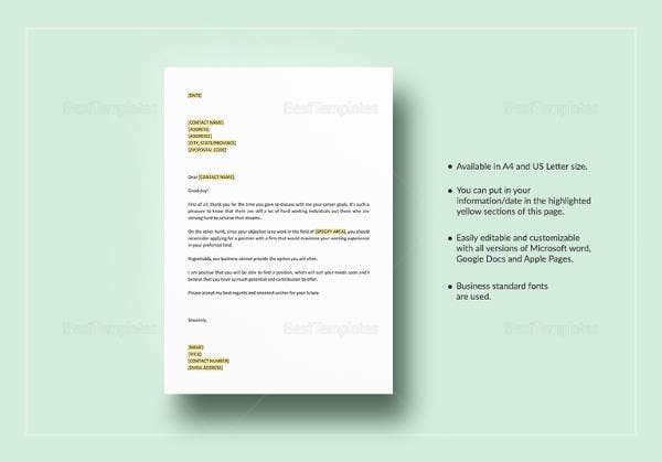 negative-response-letter-for-experience-template