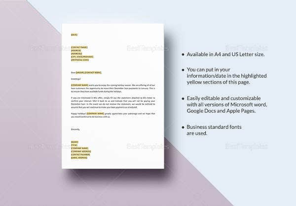 offer-letter-to-loan-customers-to-move-december-payment-template