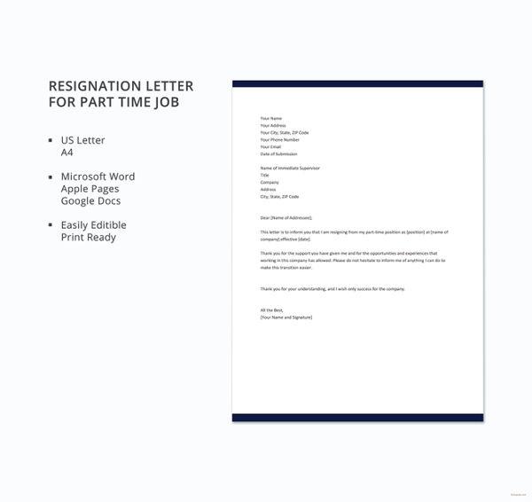 part-time-job-resignation-letter