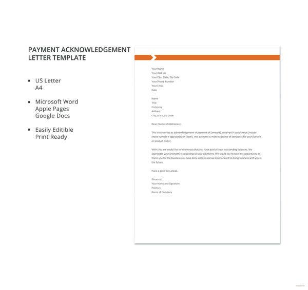 acknowledgement letter for payment made 9 payment acknowledgement letter templates pdf doc 13444