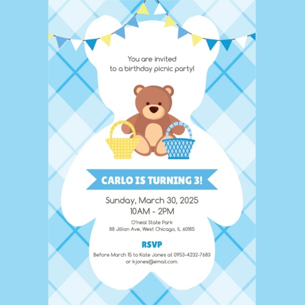 Picnic Birthday Invitation Template To Print