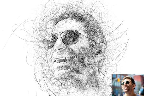 portrait scribble sketch art