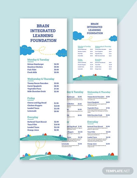 preschool food menu template1