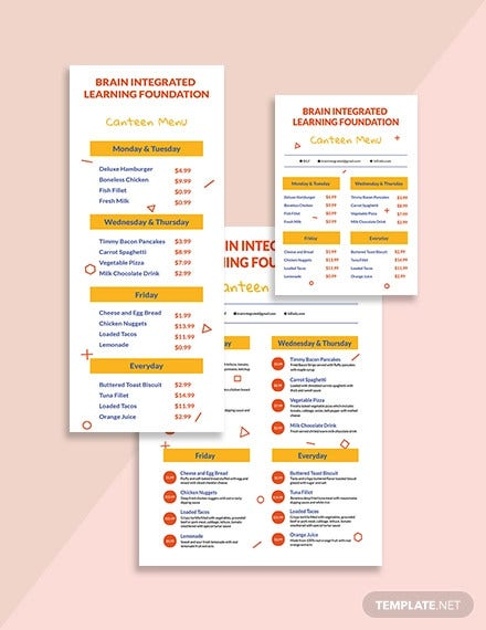 preschool menu template