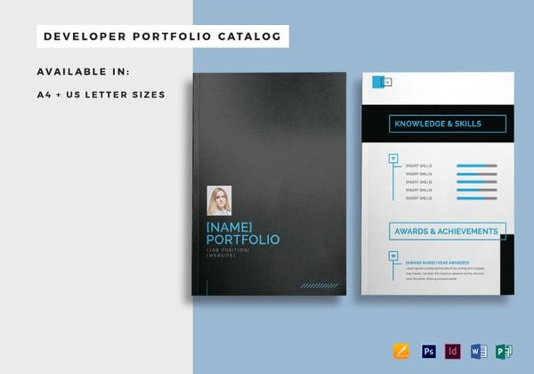 printable developer portfolio catalog template