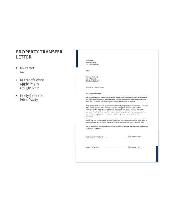 property transfer letter