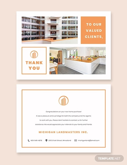 real estate business thank you card template