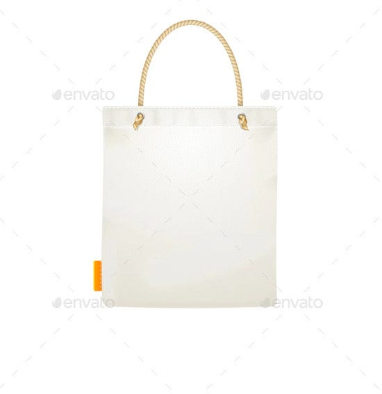 realistic white and black template blank fabric cloth tote bag