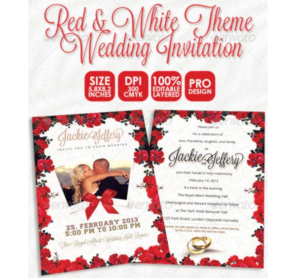 red white theme wedding invitation card