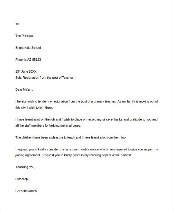 31 resignation letter format pdf doc ipage free premium resignation letter format for school teacher spiritdancerdesigns Image collections