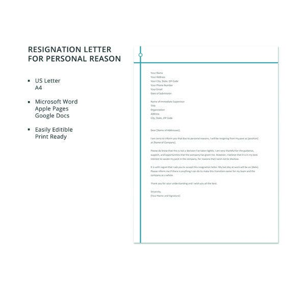 resignation-letter-template-for-personal-reason