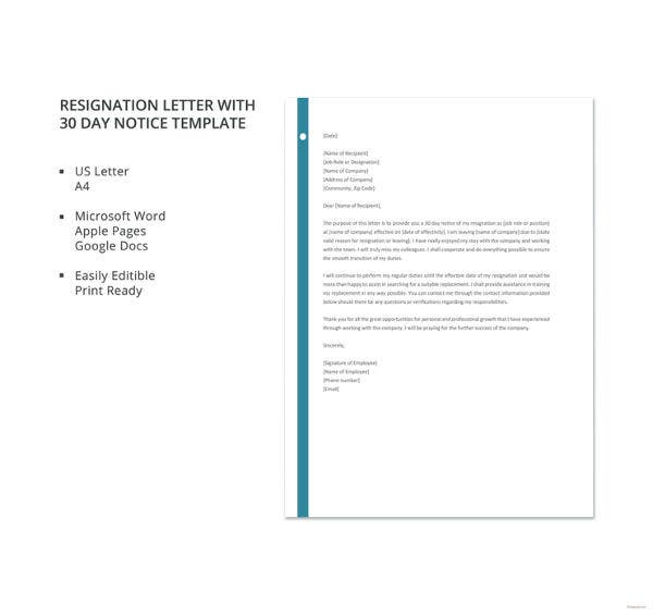30 day notice letter 8 resignation letter with 30 day notice template pdf 2233
