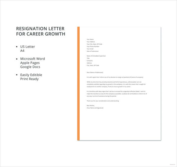resignation letter for career growth template1