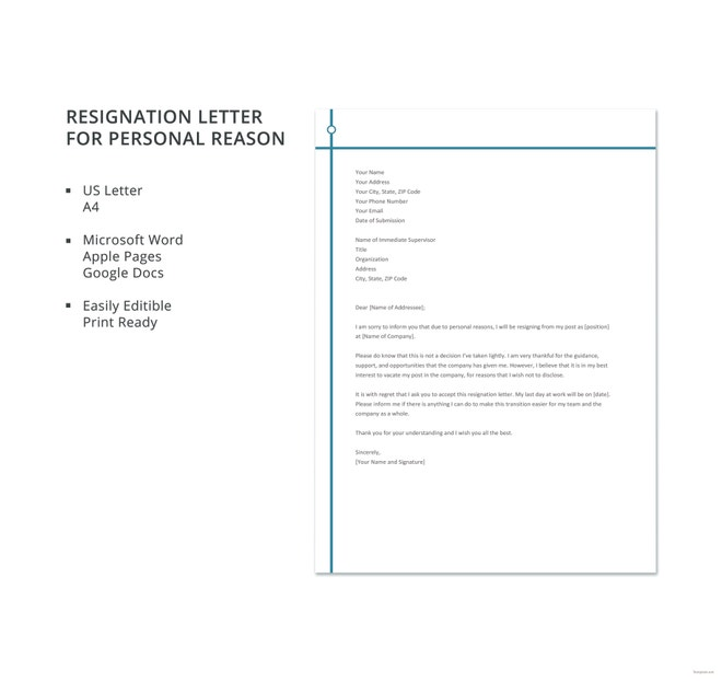 Personal Reasons Resignation Letter Templates  Pdf Word Ipages