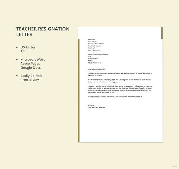 resignation letter for teacher template1