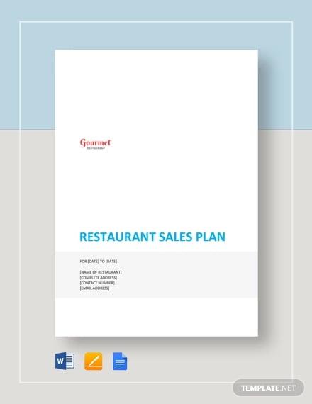 restaurant sales plan template