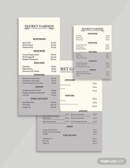 rustic restaurant menu template2