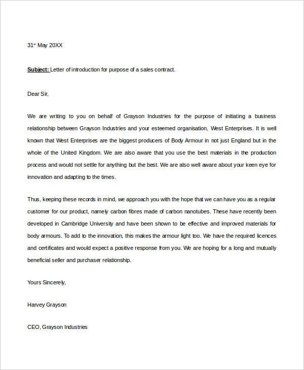 Introduction Letter Templates 7 Free Sample Example Format – Business Introduction Letter
