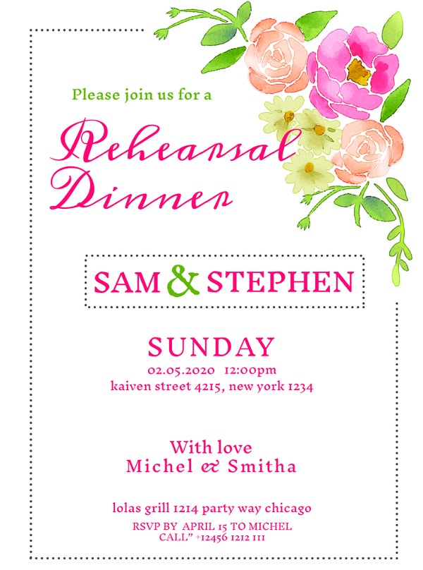 sample floral rehearsal dinner invitation