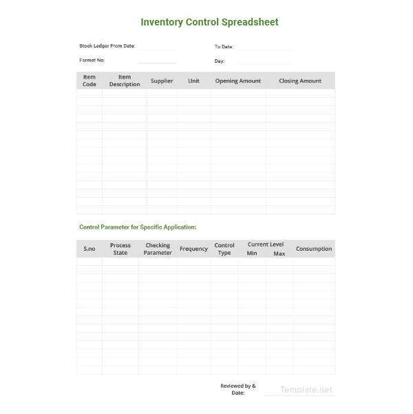 sample inventory control spreadsheet template