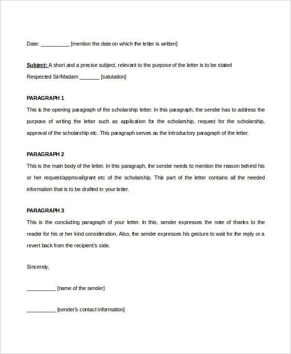 Cover Letter For Scholarship | Cover Letter Format Scholarship