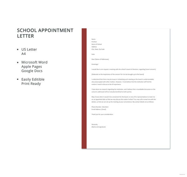 school appointment letter template