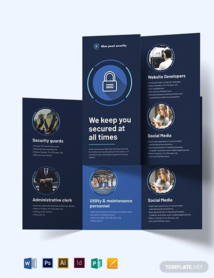 security company tri fold brochure template