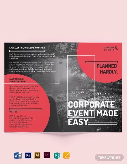 simple corporate event bi fold brochure template
