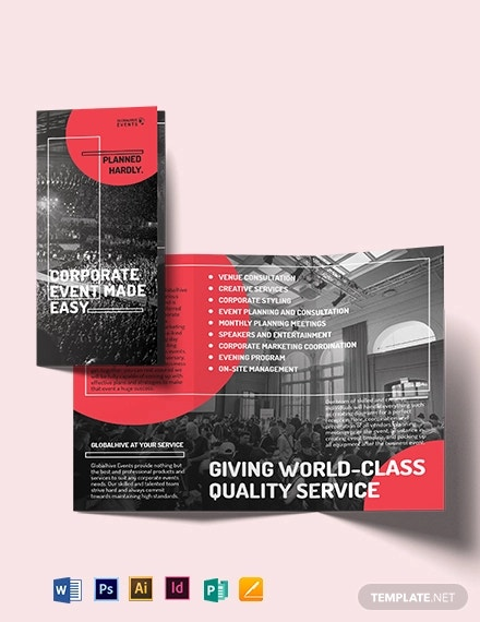 simple corporate event tri fold brochure template
