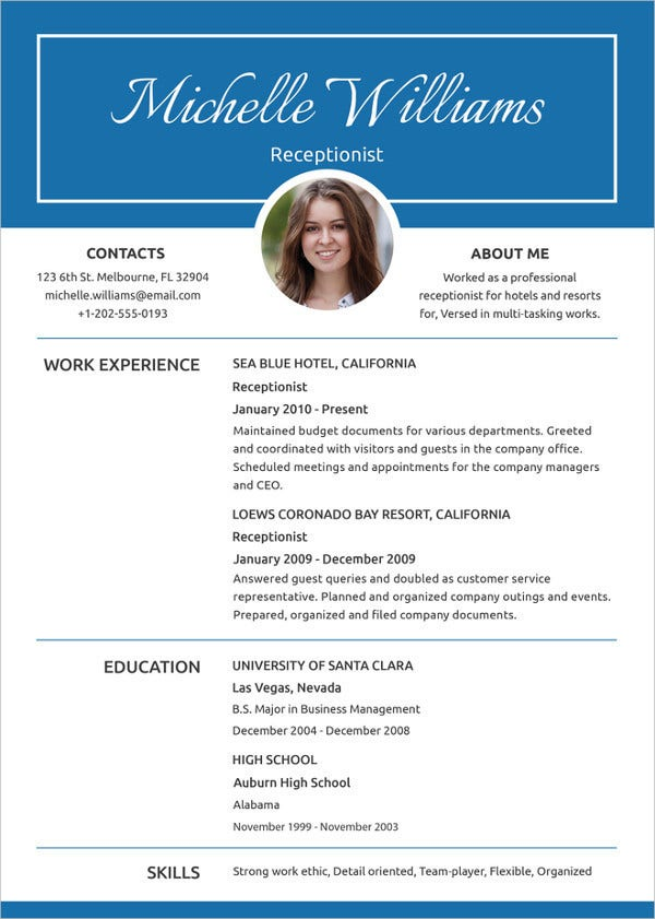 simple-receptionist-experience-resume-template
