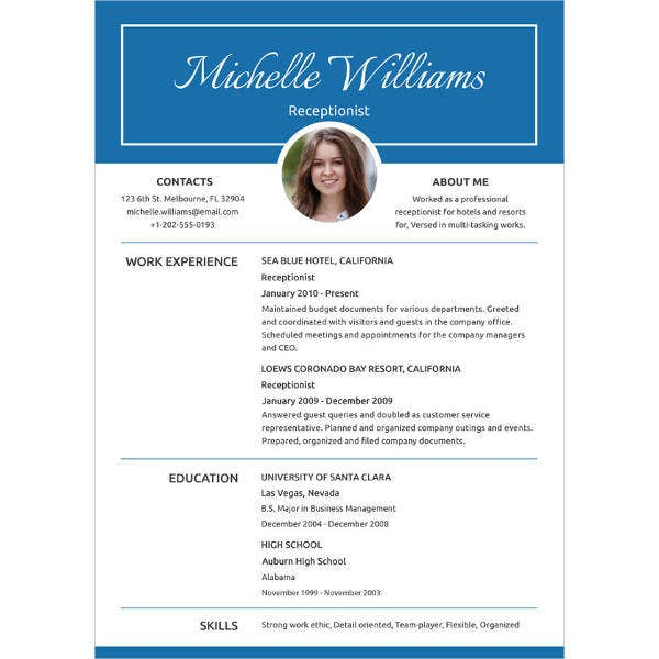 simple receptionist experience resume template1