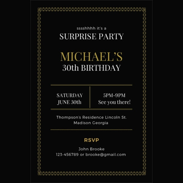 simple surprise party invitation template