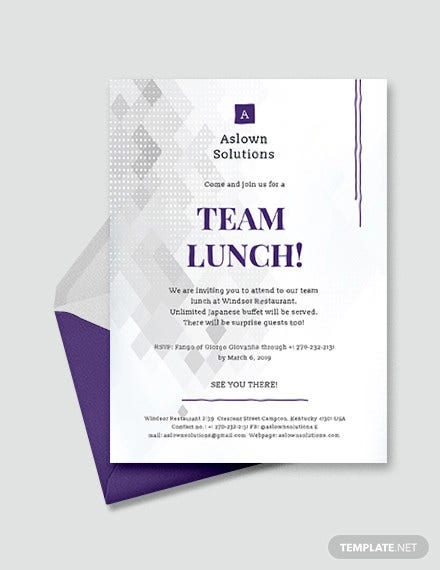 simple team lunch invitation