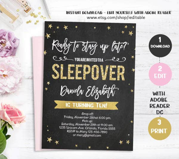 sleepover party invitation1