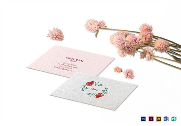 soft floral business card photoshop template