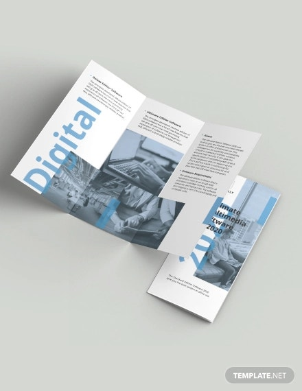 software company marketing tri fold brochure template